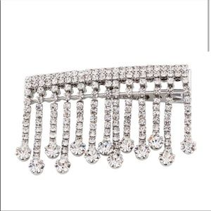 Alessandra Rich Crystal Silver Tassels Hair Pin